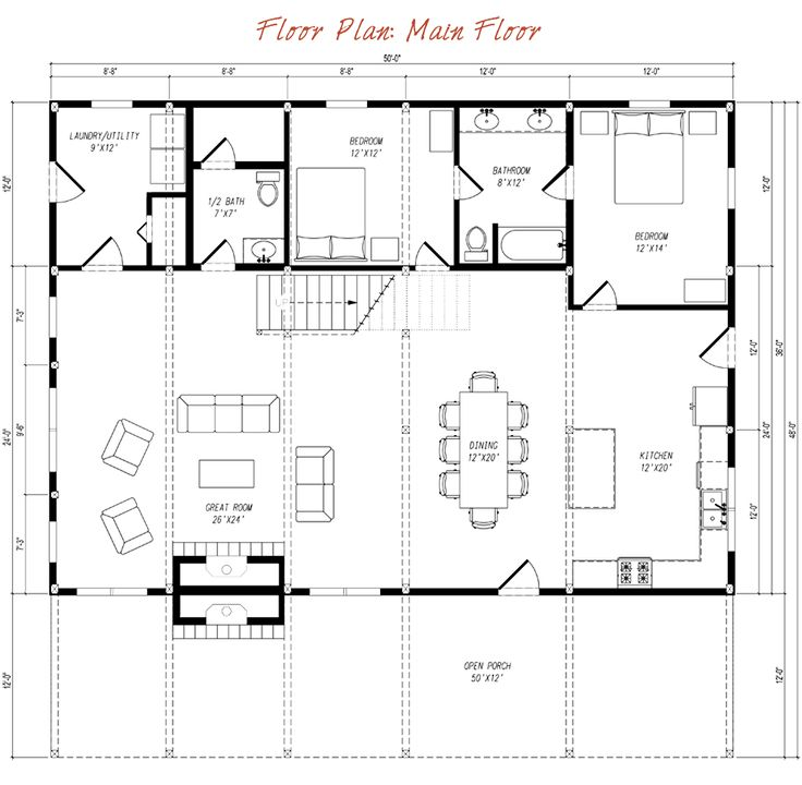 Pre designed barn home main floor plan layout barn house for Country barn plans