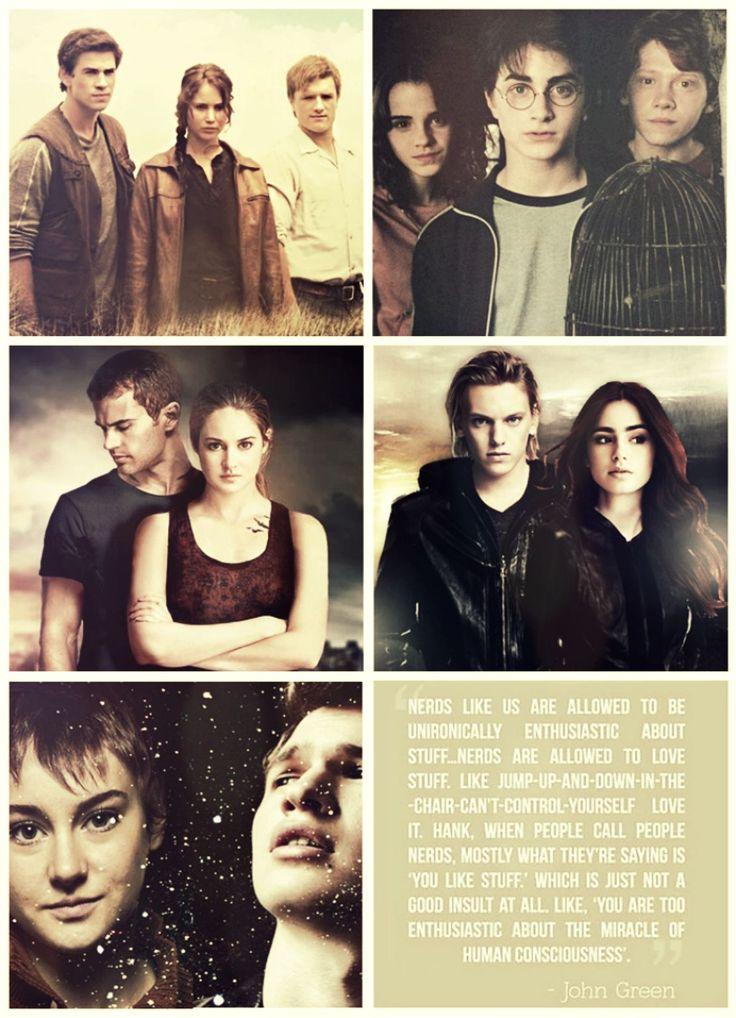 Los Juegos del Hambre, Harry Potter, Divergente, Cazadores de Sombras: Los Instrumentos Mortales, Bajo la misma estrella ♥ Los leí a todos, no sé con cual me quedo♥