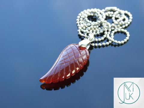 Red Agate Gemstone Angel Wing Pendant Necklace