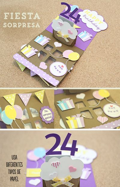 La tarjeta perfecta de cumpleaños con temática de fiesta sorpresa. #Tutorial *clic* [Perfect birthday scrapbook card]
