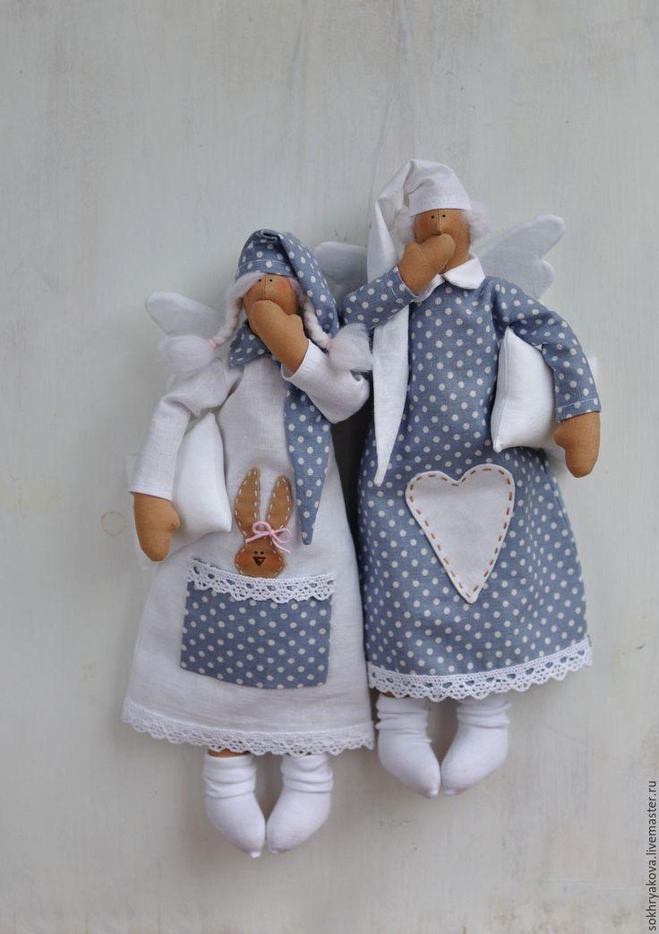 Купить Сонные ангелы. - ангел, тильда, хендмейд, ручная работа, Декор, интерьер, детская
