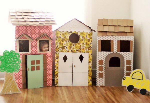 8 homemade cardboard playhouses http://hative.com/creative-diy-cardboard-playhouse-ideas/
