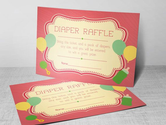 peach diaper raffle card publisher template