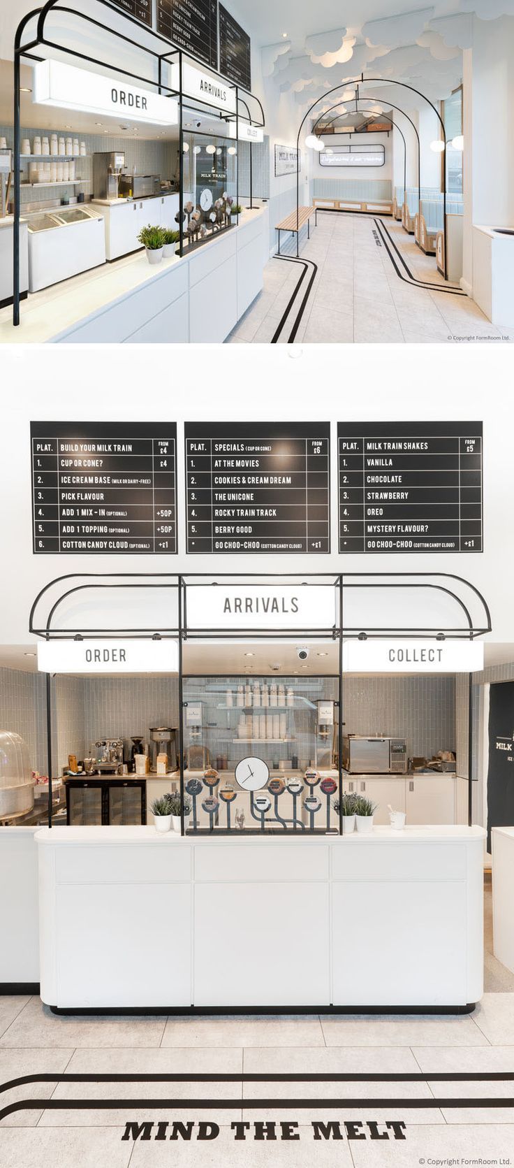 FormRoom ha diseñado 'Milk Train', una moderna cafetería de helados inspirada en …   – Shop+Resteraunte