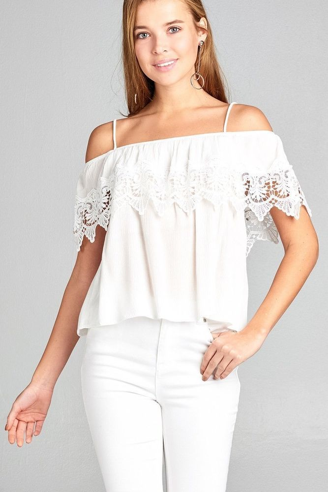 34d4ca97574a2 Ladies fashion open shoulder flounce w crochet lace crinkle gauze woven top   fashion  clothing  shoes  accessories  womensclothing  tops (ebay link)