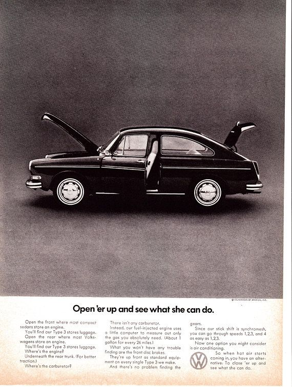 1971 Type 3 Fastback VW Volkswagen Original Magazine Ad Open