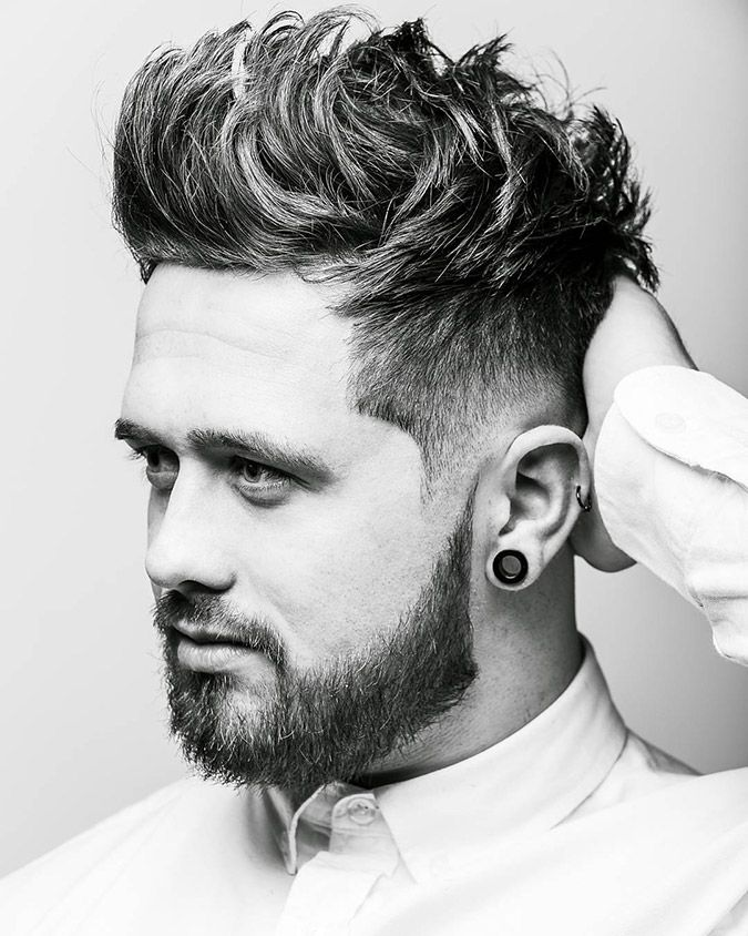 High Volume Brush up Hairstyle. See the whole article:   >>>Top 11 Haircuts for Guys With Round Faces<<<