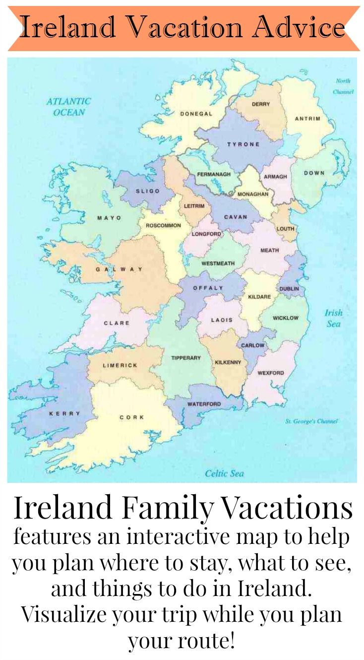 Planning an Ireland vacation can be overwhelming! Use the interactive map at Ireland Family Vacations and take the guesswork out of planning your route, deciding where to go, and choosing sites to see.