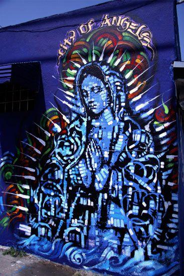Virgin in lights by Retna & El Mac, Los Angeles CA