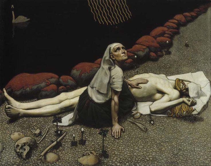 Akseli Gallen-Kallela, 'Lemminkäisen äiti' / 'Mother of Lemminkäinen' (Kalevala), year 1897, tempera, Ateneumin taidemuseo