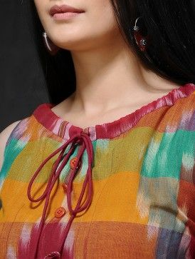 Multicolored Front Tie-Up Handloom Cotton Dress
