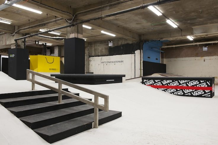 Selfridges Skatepark in London designed by Brinkworth for Prime and Fire and HTC. http://www.brinkworth.co.uk/projects/selfridges-skatepark #skatepark #selfridges #london #vans #htc