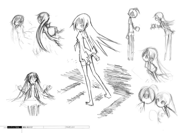 Hajime Ueda's (ウエダ ハジメ) Bakemonogatari character designs as seen in the ending animation and promotional art works, in the Bakemonogatari Production Note -characters-