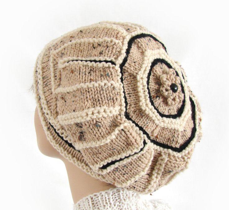 Woman's Winter Hat Tan White Black Knit Hat Women's Knit от jolay
