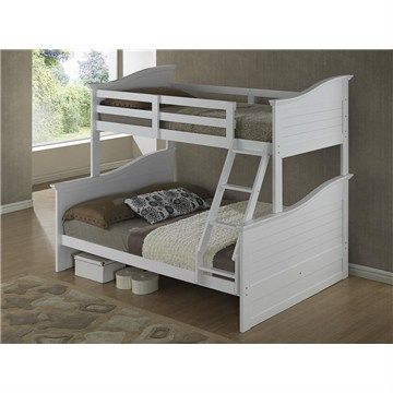 Wave Wooden Trio Bunk Bed - White