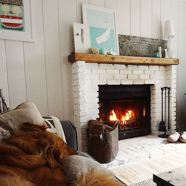 43 best painted fireplaces images on pinterest for Brick fireplace white mantle