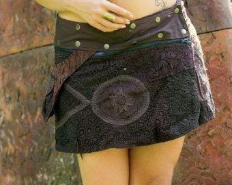 Ozora Reversible Pocket rok (bruin) - omkeerbare dubbele rok twee rokken in één Boheemse Sexy Gypsy Skirt