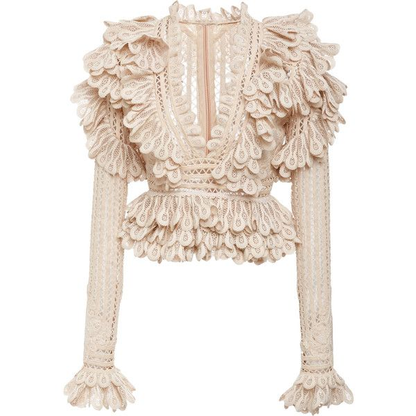 Unbridled Battenberg Bodice Top | Moda Operandi ($1,850) ❤ liked on Polyvore featuring tops, pink scallop top, scallop edge top, textured top, pink top and scallop trim top