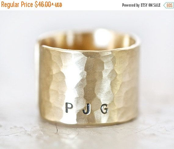 CHRISTMAS In JULY SALE Initial Ring Band Personalized Rustic Gold Dust with Initials Personalized Gift for Him Gift for Her by amywaltz #TrendingEtsy