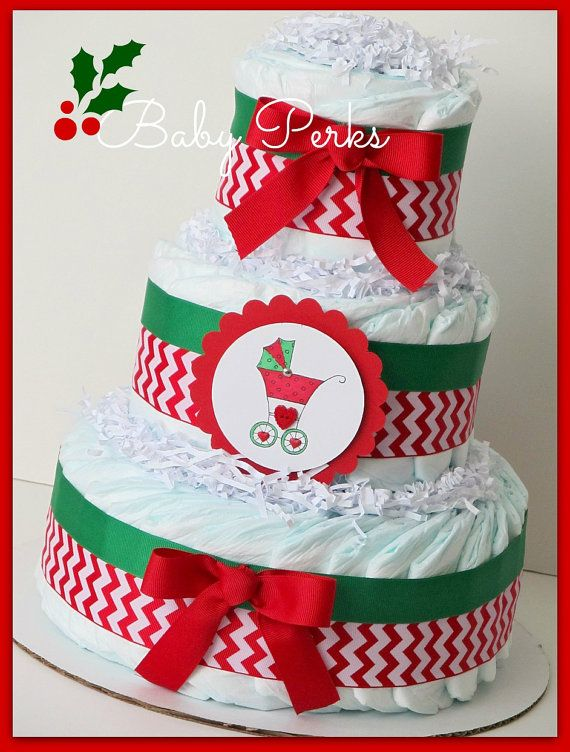 Christmas Baby shower Diaper cake Red and Green Diaper by MsPerks