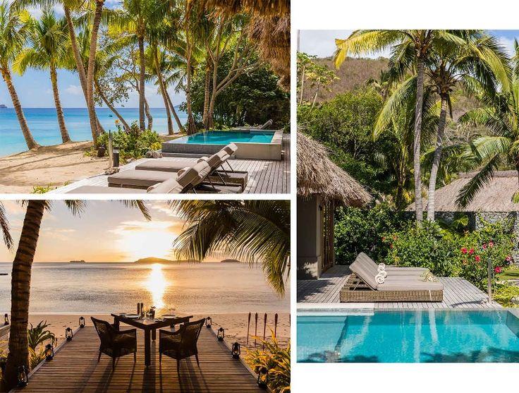 Découvrez cinq havres de paix privés où luxe et sable fin fusionnent de l'Indonésie à la Tanzanie. Offrez-vous des piéces Carrie Forbes, Ephemera et Lila Eugenie.