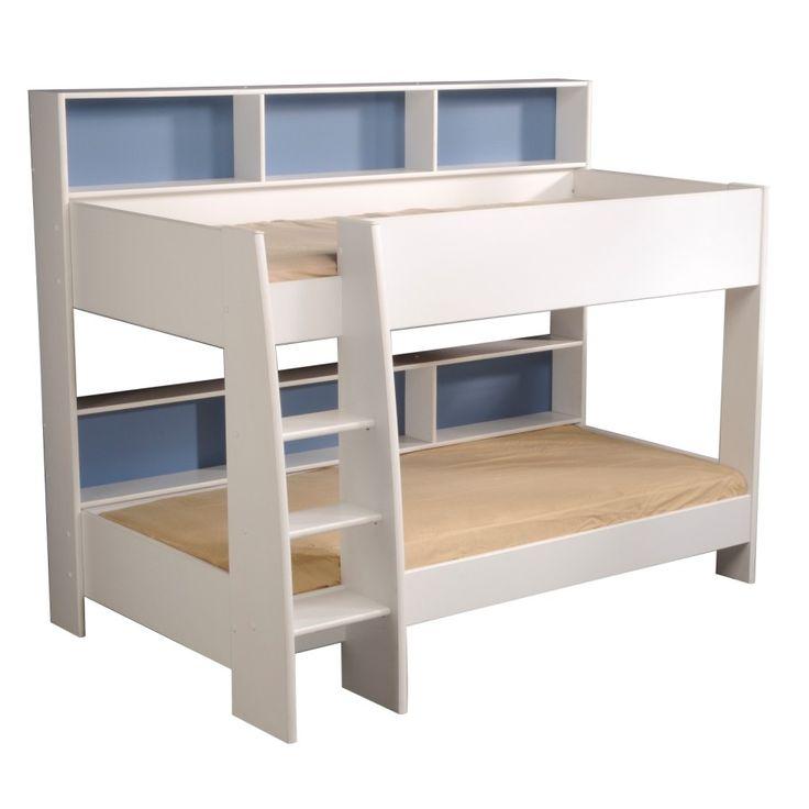 Lit superpose avec rangement - lits Léo blanc pour enfant ou ado