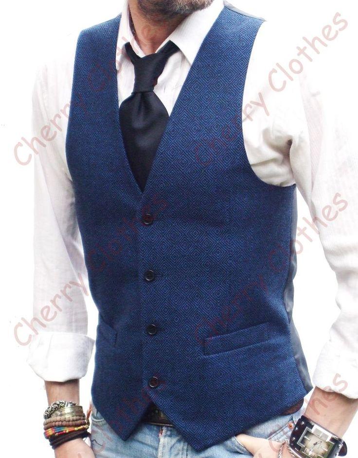 Mens wool blend blue slim fit tweed waistcoat vest all sizes - diamond pattern