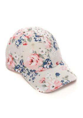 BCBGeneration Whisper White Floral Baseball Hat