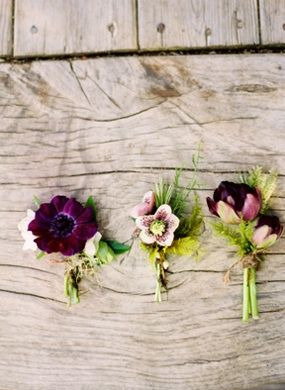 Pretty in purple — rustic wedding boutonnieres.
