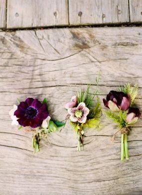 Pretty in purple —rustic wedding boutonnieres.