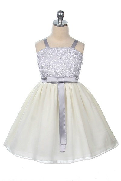 Charmeuse/Lace Bodice and Chiffon Skirt - Silver