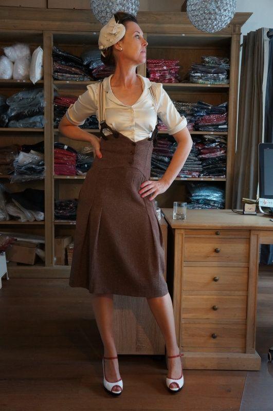 Miss fancy pants skirt brown salt/pepper   Broeken en rokjes   Misspoppywear, retro boetiek