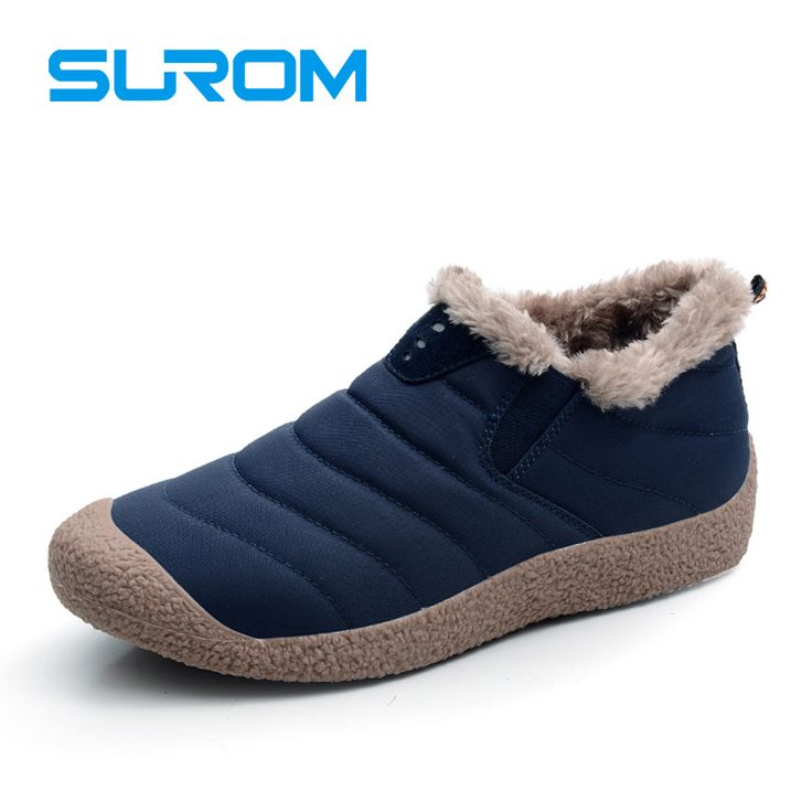Surom New Of High-Quality Plush Warm Men'S Winter Boots Waterproof Upper Material Mens Snow Boots Men Casual Shoes