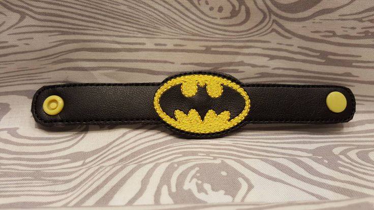 Batman, Bat Man, Bracelet Wristlet, Embroidered, Superhero, Bat Boy, Boys, Girls, Kids Costume, Accessories by EmbroiderybyShellS on Etsy