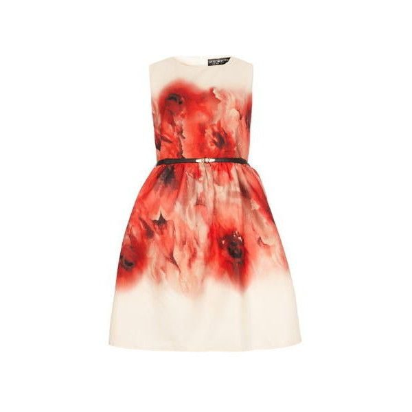 Little Mistress Red Poppy Print Dress ❤ liked on Polyvore