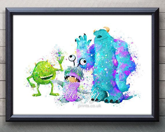 Disney Pixar Monsters Inc Mike, Sully and Boo Watercolor Poster Print - Watercolor Painting - Watercolor Art - Kids Decor- Nursery Decor