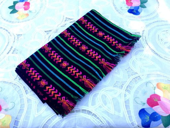 Black Mexican Table Runner  Aztec Fabric Home by NellywithWings