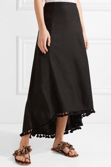 Figue - Matador Tassel-trimmed Silk-blend Midi Skirt - Black - US6
