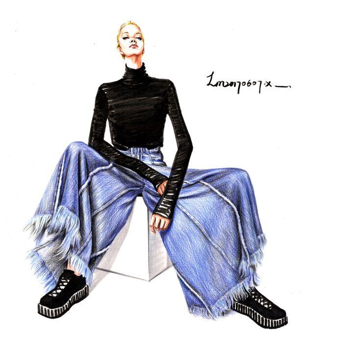 jeans  denim pants   fashion illustration