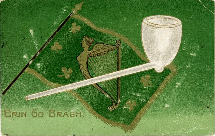 """Postcard titled """"Erin Go Bragh"""" at bottom left, with an illustration of a clay pipe and a flag behind; on the flag is an Irish harp and shamrocks. Erin Go Bragh is an anglicisation of the Irish phrase Éirinn go Brách which translates as 'Ireland Forever'. The card was posted from Bedford, Pennsylvania, to an address in Johnstown, PA, in March 1915.  Compare to www.flickr.com/photos/adambangor/5920405700/"""