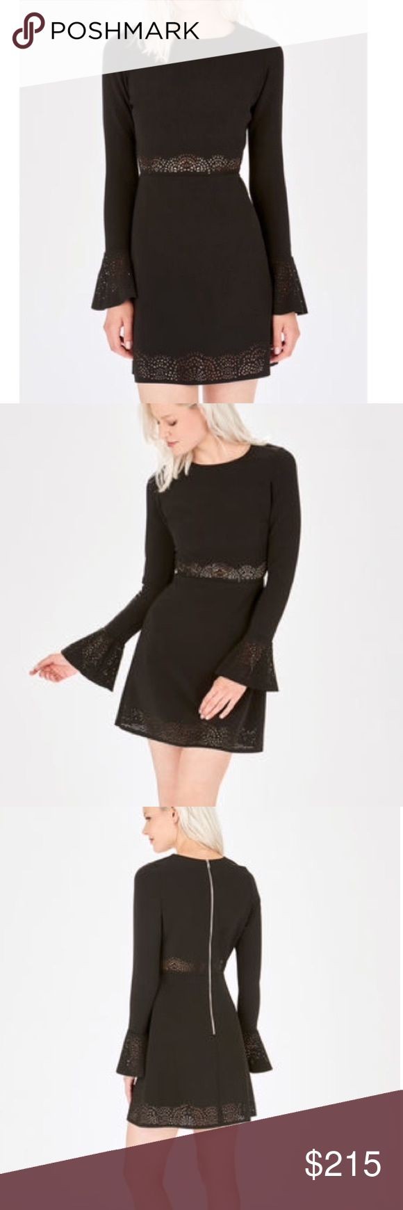 Parker cut out LBD New! Edgy and girly Parker fit and flare dress with bell sleeves, laser cut detail, and exposed zipper at the back. Poly/elastane blend. This dress is form fitting, runs true to size 0-2. No trades. Parker Dresses Mini