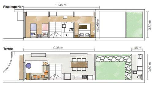 Note como a cozinha ocupa uma área maior que a sala no térreo. No andar de cima, modificar a escada e mudar a posição do banheiro permitiu transformar o corredor em escritório e aumentar o quarto das crianças.