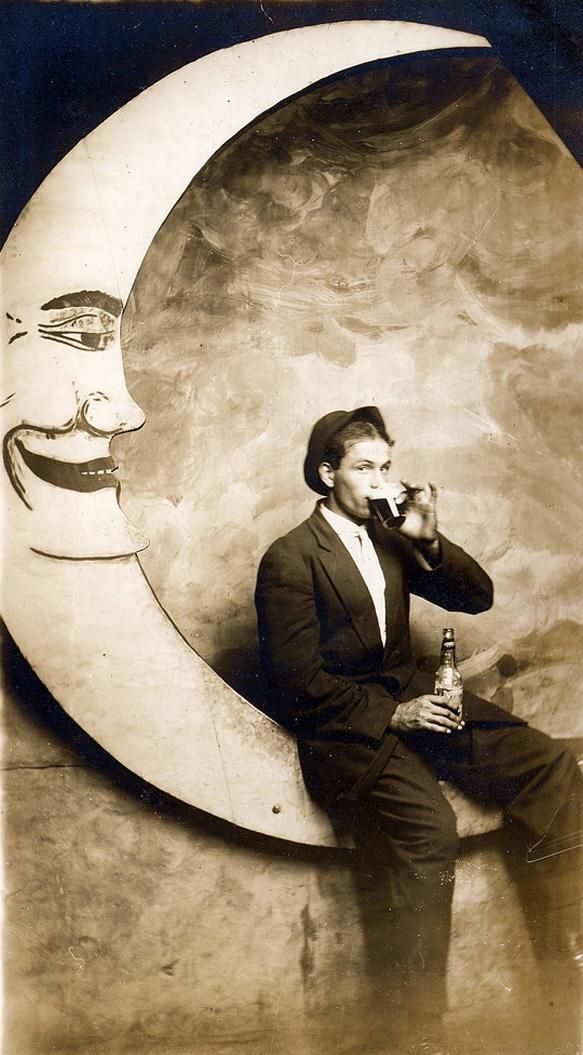 Inspiration   man on the moon, vintage @Mariah Haney  (I don't like the creepy moon face though...)