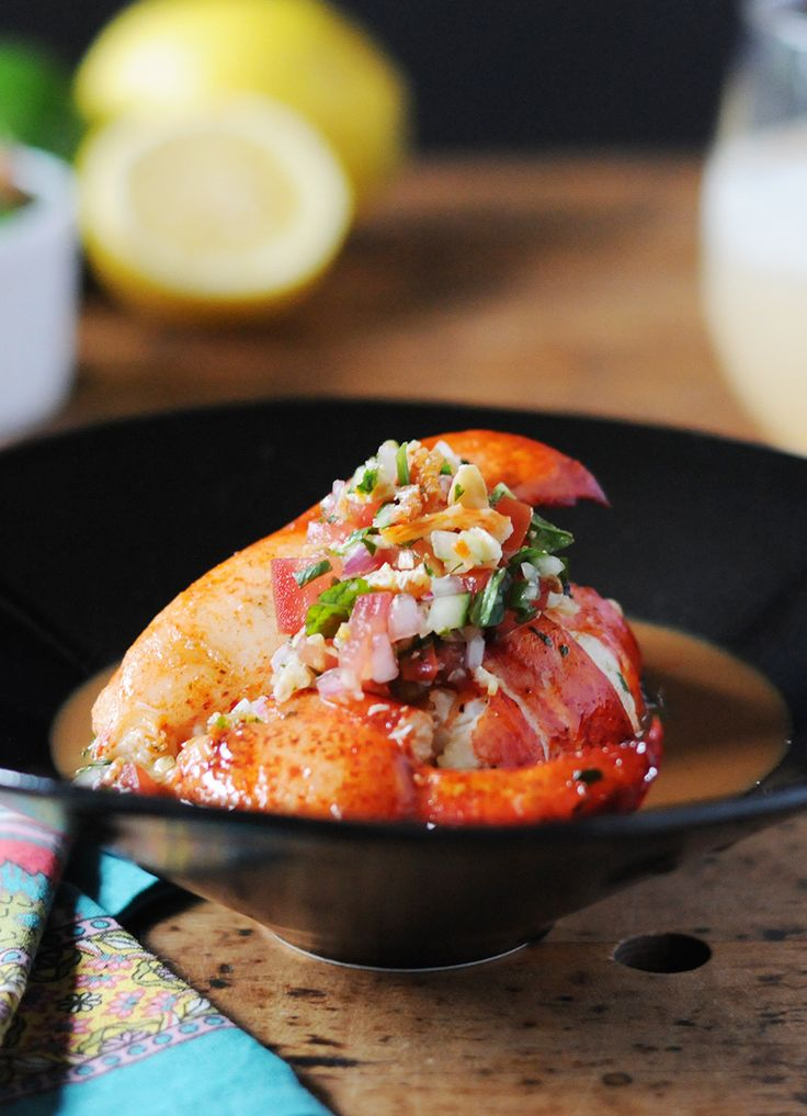 Grilled Lobster with Coconut-Rum Glaze & Dried Shrimp Salsa