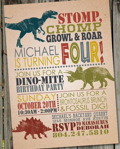 Best 25 Dinosaur birthday invitations ideas on Pinterest