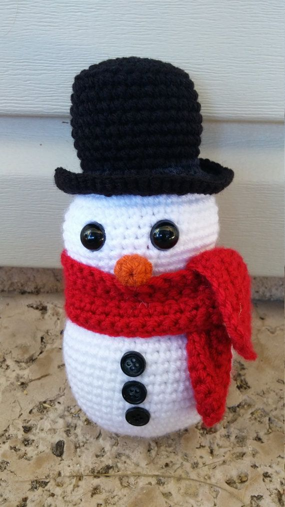 This cute little snowman makes an 8 inch tall plush for your home! Use this pattern to bring some holiday magic to you or a friend