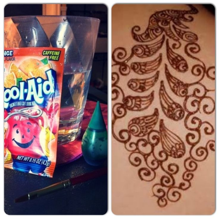 """DIY Kool Aid and Food Coloring Tattoo. Instructions: 1 packet orange Kool-Aid, 1 drop green food coloring, 1 cup water. Paint on, let sit for 1 minute, pat dry. Lasts over a week! So I could """"trial-run"""" a tattoo!."""