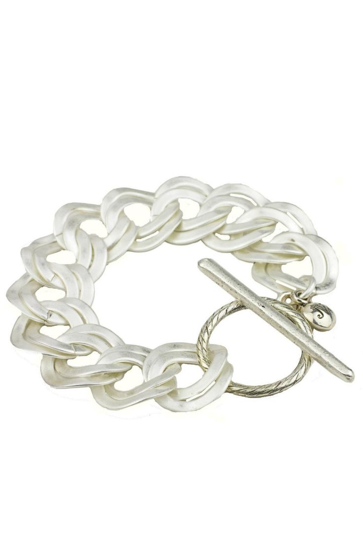 "Flat chain toggle bracelet in gold or silver.    Measures: 8.25"" L; links are 7/8"" W    Toggle Bracelet by John Wind Maximal Art. Accessories - Jewelry - Bracelets Pennsylvania"