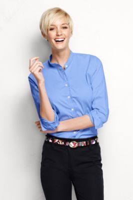 Women's Long Sleeve Ruffle Banded Collar Shirt from Lands' End