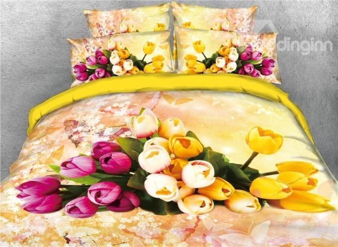Onlwe 3D Pink and Yellow Tulip Printed 4-Piece Yellow Bedding Sets/Duvet Covers